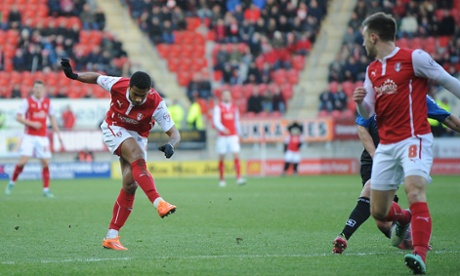The Millers take the lead as Rotherham United's Richard Brindley scores via a deflection.