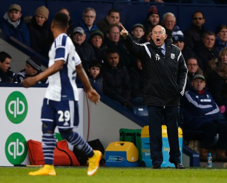 Tony Pulis shouts at Stephane Sessegnon as his team struggle to break down Gateshead at the Hawthorns.