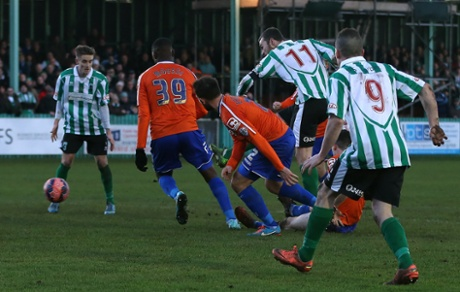 Blyth Spartans' Robbie Dale scores his second goal to put Birmingham in trouble at Croft Park.