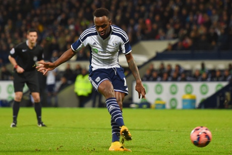 Saido Berahino completes his hat-trick slotting the ball home from 12 yards.