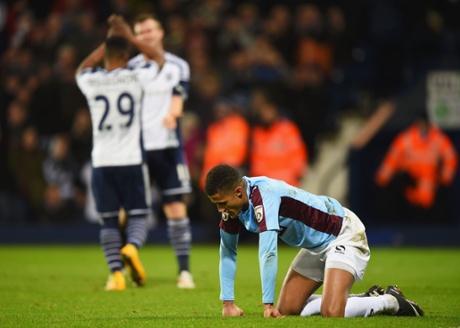 Despair for Andrai Jones of Gateshead against West Bromwich Albion.