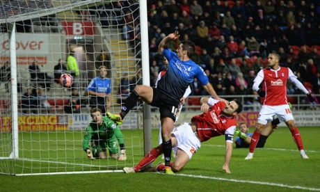 Yann Kermorgant scores the fifth goal after Dan Gosling's header was saved.