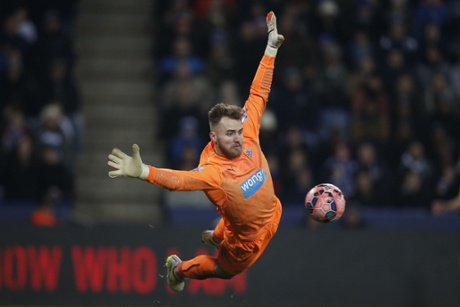 Newcastle United's Jak Alnwick saves this effort but his side are still trailing at the King Power stadium.