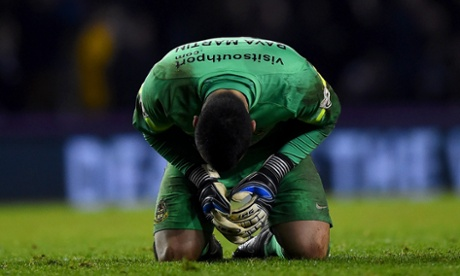 Southport's David Raya Martin dejected against Derby.