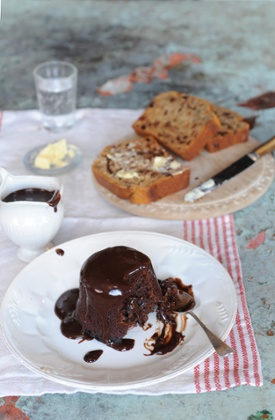 Dark chocolate pud with a silky salted chocolate honey sauce competes for attention with a honeyed Earl Grey tea loaf.