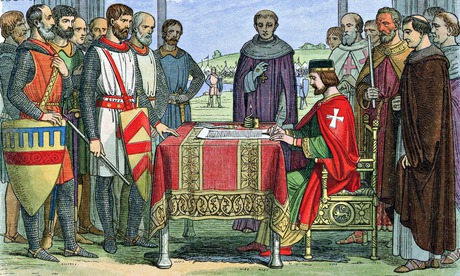 King John depicted ratifying Magna Carta at Runnymede in 1215