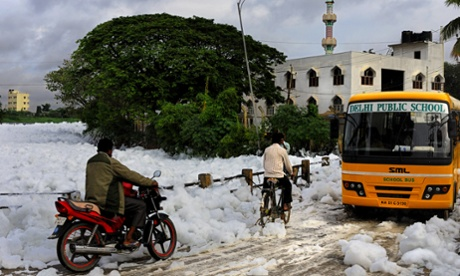 Bangalore's lake of toxic foam – in pictures