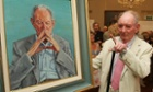 Brian Friel in 2010 looking at his portrait
