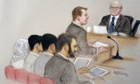A 15 year old boy at Manchester Crown Court surrounded by his parents, being sentenced  for plotting a terrorist attack on an Anzac Day Parade in Australia. Paul Grearney QC is shown standing.