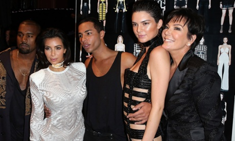 Kanye West, Kim Kardashian, Olivier Rousteing, Kendall Jenner and Kris Jenner pose after a Balmain show at Paris fashion week 2015.