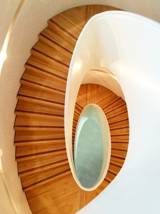 Spiral stair … The quality recalls the meticulous hand craftsmanship of a nineteenth-century building.