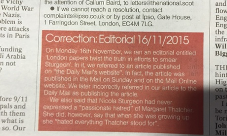 The National carries a correction for its erroneous Sturgeon editorial