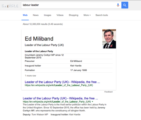 Google's results when searching for 'labour leader'.