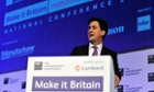 Labour leader Ed Miliband addresses the EEF conference in London.