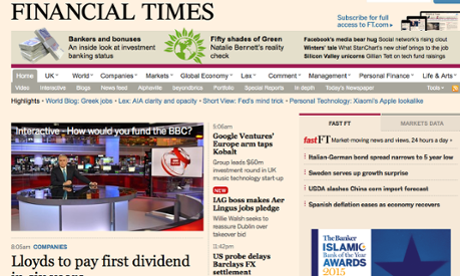 Financial Times to change way it charges for online content
