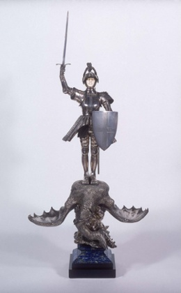 Edward Onslow Ford's St George and the Dragon Salt Cellar, 1901Silver, marble, ivory, and lapis lazuli