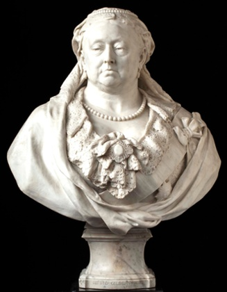Alfred Gilbert's marble bust of Queen Victoria, 1887-89.