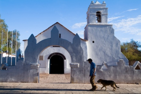 The adobe church of San Pedro de Atacama, Chile
