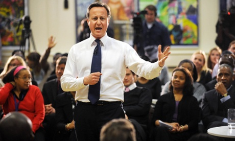 David Cameron addresses residents in Peckham.