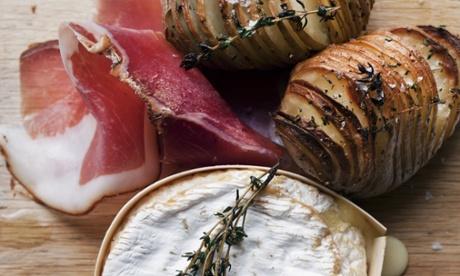 Nigel Slater's hasselback potatoes, baked cheese and ham recipe