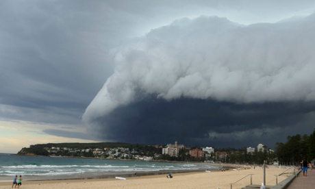 Storm clouds loom over Sydney's Manly Beach.