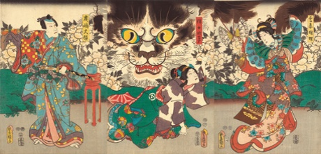 Kunisada_Beloved Concubine Kocho, Her Maid Okoma, and Narushima Tairyo