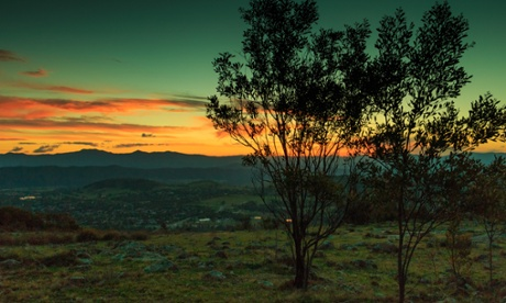 The outskirts of Canberra at sunset.