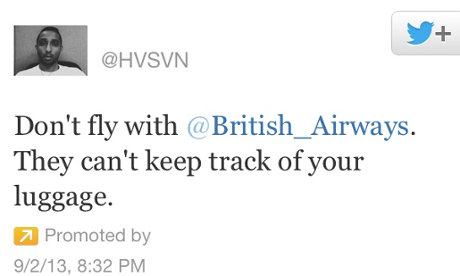 Twitter complaint to Briitsh Airways