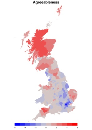 A geographical breakdown of 'agreeableness' across England, Scotland and Wales