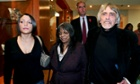 Stephanie Kercher (left), Meredith's sister, arrives with her mother Arline and father John for a news conference in 2007.