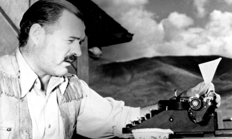 Source-y questions ... Ernest Hemingway at his typewriter. Photograph: AP