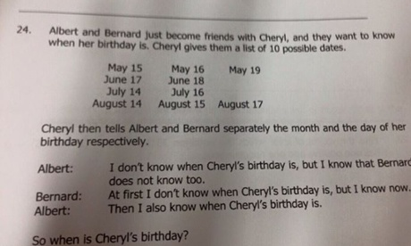 How to solve Albert, Bernard and Cheryl's birthday maths problem