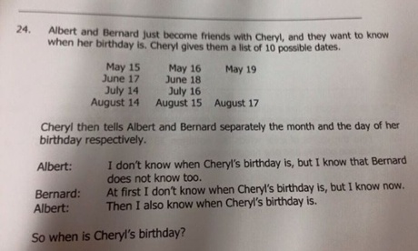 Why the Cheryl birthday problem turned into the maths version of #TheDress
