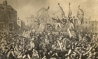 Yeomanry charging crowds during the Peterloo Massacre.