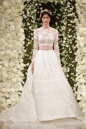 Reem Acra's autumn/winter collection - bare midriff, long sleeves.