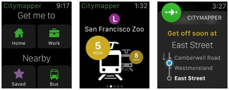 The Citymapper Apple Watch app.