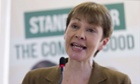 Caroline Lucas at the Green party manifesto launch  on 14 April.