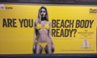 A Protein World advert displayed in an underground station in London. More than 44,000 people have signed a petition to have the adverts removed.