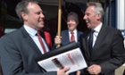 DUP deputy leader Nigel Dodds (left) with Ian Paisley Jr (right) and leader Peter Robinson at the launch of their manifesto on 21 April.