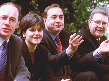 Nicola Sturgeon with the SNP's John Swinney, Alex Salmond and Michael Russell in 1999