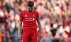 Liverpool's Steven Gerrard looks dejected in the final minutes of the match against Crystal Palace at Anfield.
