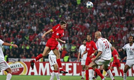 Golden goal: Steven Gerrard for Liverpool v Milan (2005 Champions League final)