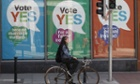 Yes posters cover a shop's windows in the centre of Dublin.