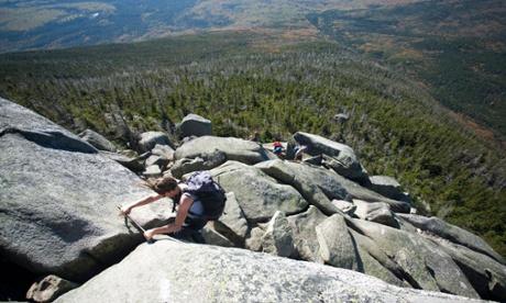 Hiker descending Mount Katahdin.