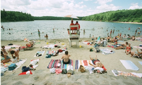 The beach area of Walden Pond.