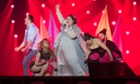 Bojana Stamenov of Serbia performs her song Beauty Never at the final rehearsal ahead of the Eurovision Song Contest in Vienna.