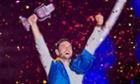 Måns Zelmerlöw celebrates victory for Sweden at Eurovision.