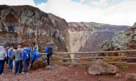 School group overlooking Mount Vesuvius Crater, Campania, Italy
