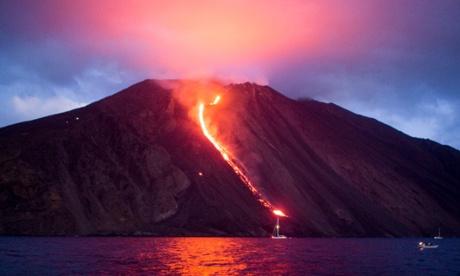Stromboli volcano at night