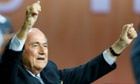 Sepp Blatter reacts after he was re-elected as Fifa president.